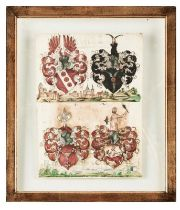 Blatt mit vier Wappen-Miniaturen