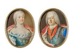 Miniaturpendants von Maria Theresia und Franz. I.