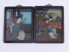 Zwei Hinterglasbilder mit Damen