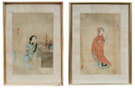 Zwei Seidenbilder mit Frauendarstellungen