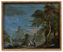Südliche Landschaft mit Burg und vom Markt heimkehrenden Bauern