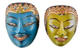 Zwei Wayang-Masken