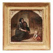 Mutter mit zwei Kindern in der Stube