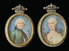 Miniaturpendants eines adligen Paares