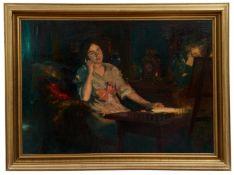 Junge Dame am Schreibsekretär ein Gemälde betrachtend