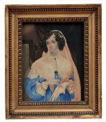 Dame mit Schleier in blauem Kleid