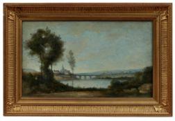 Flusslandschaft mit Brücke und Dorf im Hintergrund