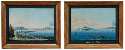 Zwei Ansichten auf die Bucht von Neapel