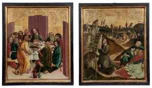 Zwei gotische Tafelbilder mit Szenen aus der Passion Christi