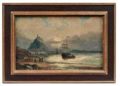 Schiffe vor St. Michael's Mount in Cornwall