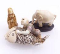 Drei Kleinteile asiatisches Kunsthandwerk