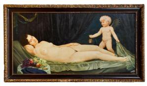 Schlafender, weiblicher Akt und Amor