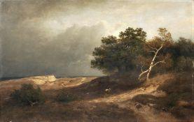Heinrich Vosberg, Heidelandschaft mit Wanderer und aufziehendem Gewitter. 1877.