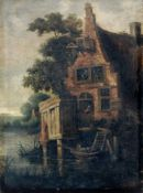 Cornelis Gerritszoon Decker (Kopie nach), Flusslandschaft mit einem Bauernhaus. Wohl frühes 18. Jh.