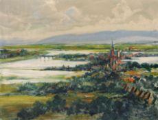 """Otto Hamel """"Lohr bei Hochwasser"""". Nach 1943."""
