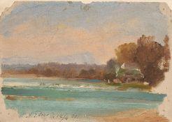 A.P. Lear, Bewaldete Landschaft mit See. 1861.