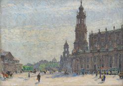 Fritz Beckert, Dresden – Blick vom Theaterplatz zu Hofkirche und Brühlscher Terrasse. 1922.