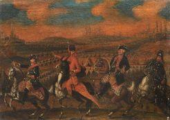 Deutscher Künstler, König Friedrich II. von Preußen in der Schlacht bei Kunersdorf im Siebenjäh...