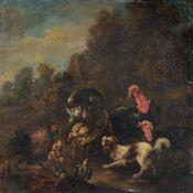 Albertus Verhoesen (zugeschr.), Hahnenkampf / Federvieh mit Hund und Katze. 1. H. 19. Jh./Mitte...