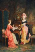 Constant Freiherr Byon, Zwei Rokoko-Damen im Salon. Wohl spätes 19. Jh.