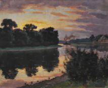 Martin Bammes, Die Elbe bei Pillnitz im Abendlicht. 1921.