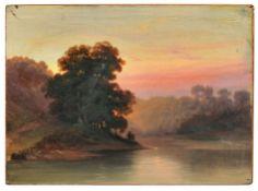 Woldemar Hottenroth (in der Art von), Abendliche Flußlandschaft. 1870er Jahre.