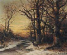 Horst Bernhard Hacker, Abendliche Winterlandschaft mit Bachlauf und Rehbock. 1889.