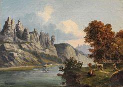 H. Schmidt, Basteifelsen bei Rathen – Sächsische Schweiz. 1861.