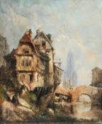 Eugène Louis Gabriel Isabey (zugeschr.), Wäscher am Fluss. 1830er Jahre.