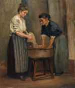 Rudolf Gudden, Zwei Wäscherinnen am Zuber. Wohl Frühes 20. Jh.