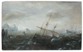 Aert Anthonisz. (genannt Antum) (zugeschr.), Dreimaster in stürmischer See. Um 1604– 1620.