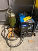 Millermatic 180 230V Wire Welder, Small O2 bottle, (2) Welding Helmets, & 2 Rolls of Wire