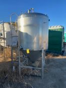 Walker Stainless Steel Conical Tank with ladder and manhole access, 500 Gal, Serial# 4410, Rigging/