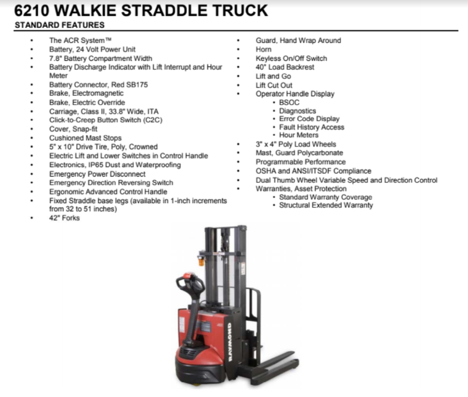 (LOCATED IN CANADA) Raymond Walkie Straddle Truck, Model# RAS25, Serial# RAS-09-03194, 24V - Image 5 of 5
