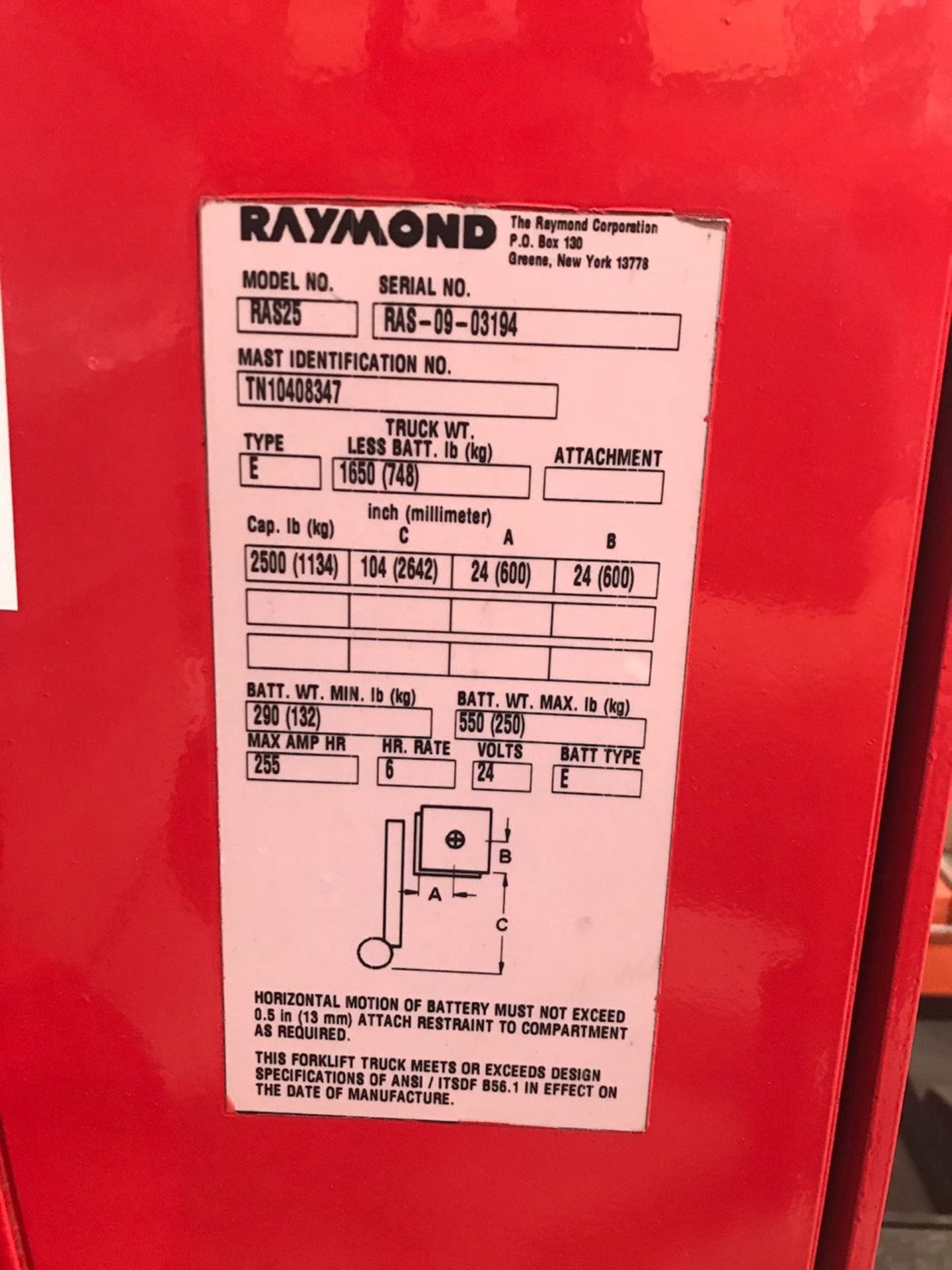 (LOCATED IN CANADA) Raymond Walkie Straddle Truck, Model# RAS25, Serial# RAS-09-03194, 24V - Image 3 of 5