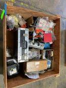 Wood Box of Misc. Tape/Dies & Calibration Equipment Rigging Price: $50