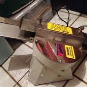 Moline Hinge Bagel and Bun Slicer, Model: 250, Serial: Energy: 110V, 60Hz, 1ph, 4.4Amps, Speed: