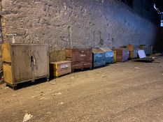 Miscellaneous Toolboxes, Qty 17 (All Pictured), Rigging/ Removal Fee: $1,500