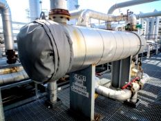 """Heat exchanger shell & tube by DCR. Size 28 OD"""" x 159"""" long, horizontal on saddles, insulated. Has"""