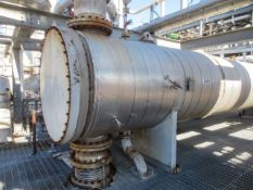 Reboiler, condensing heat exchanger horizontal shell & tube on saddles, mfg by DCR. Size approx