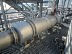 """Heat exchanger shell & tube. Size 24"""" ID x 122"""" long OAL. Horizontal on saddles. 1 pass. Has 520"""