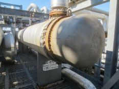 """Heat exchanger shell & tube 8 pass by DCR. Horizontal on saddles. Size 36"""" ID x 317.6"""" long. Has 309"""