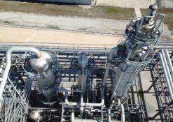 """Stripper Distillation Column, stainless steel 304L (20) trays. Size 60"""" ID X 42'-11"""" seam/seam tall."""