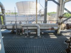 """Heat exchanger, shell and tube 1 pass. Size 24"""" OD x 234"""" long. Horizontal on saddles. SN 4305-"""