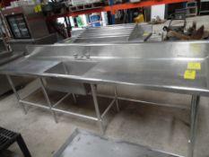 Mesa de acero inoxidable para lavado, con tarja, 242 cm de largo, 70 cm de ancho, 86 cm de alto. (