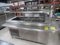 Barra fría de acero inoxidable con sistema de refrigeración independiente, es para 4 enteros, cuenta
