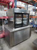 Mesa con vitrina y sistema de refrigeración, largo 145 cm, ancho 80 cm, alto 180 cm aprox. (Table