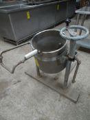 Marmita de acero inoxidable para 60 lts aproximadamente, diámetro de 60 cm, fondo 35 cm, altura