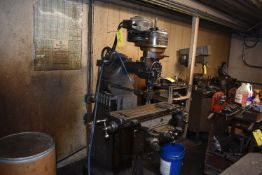 Bridgeport J-Head Vertical Milling Machine, Round Overarm, Power Feed Table, Assorted Collets, SN