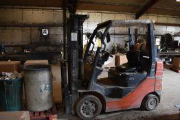 "Toyota Model #8FGCU25 Forklift, Propane, 4500 lbs. Capacity, 189"" Lift Ht., Side Shift, ROPS, SN"
